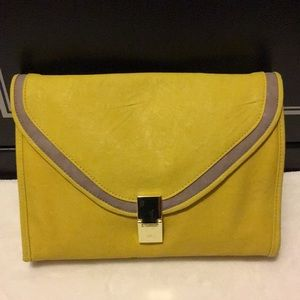 ASOS yellow and grey clutch